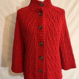 Liz Claiborne Red Chunky Sweater Cardigan